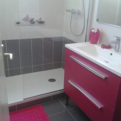 Faïence bi-colore et sol salle de bain