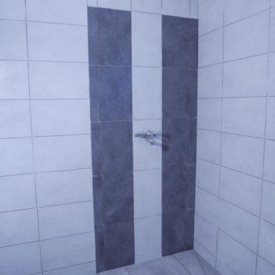 Carrelage salle de bain avec fresque pour la douche en 20x75